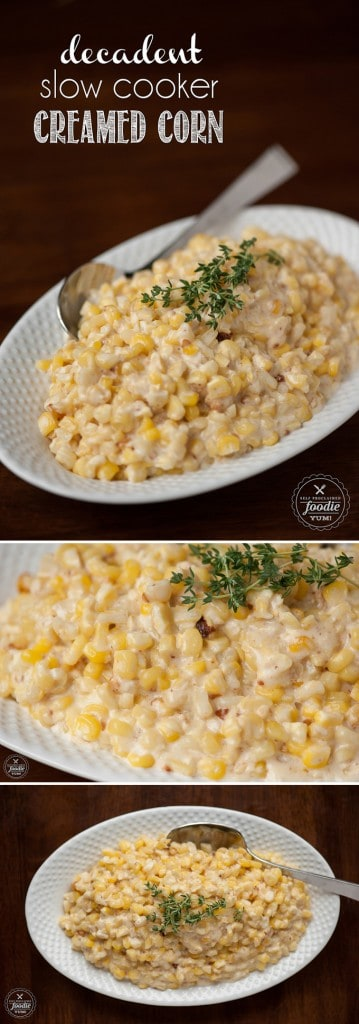 This savory Decadent Slow Cooker Creamed Corn made from fresh corn tastes nothing like the stuff from a can and is so simple to make in your crockpot.
