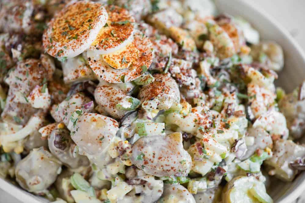loaded Deviled Egg Potato Salad recipe