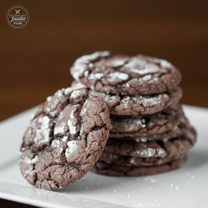 a stack of devils food crinkles on a plate