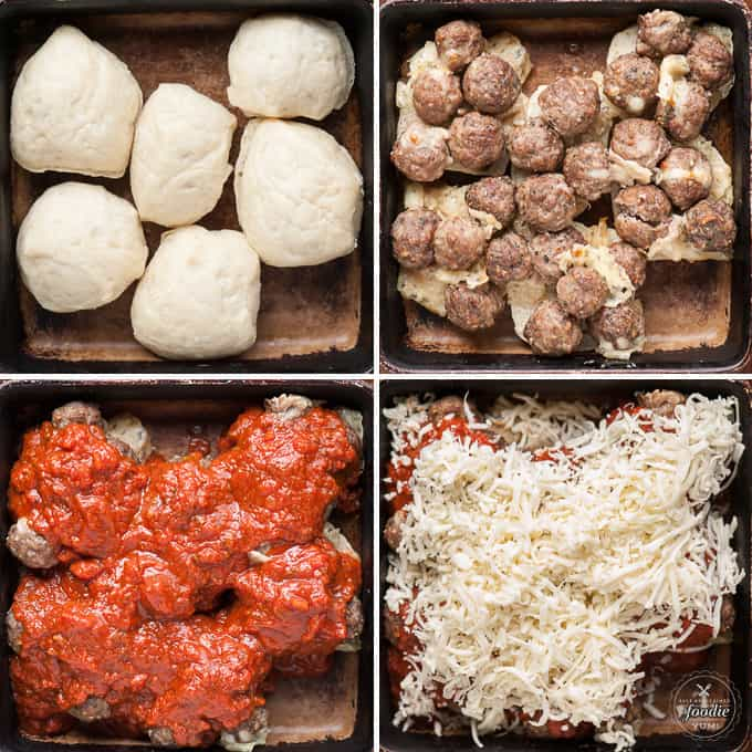 step by step photos of how to make stuffed meatball slider sandwiches