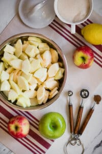 sliced apples for Dutch Apple Pie recipe