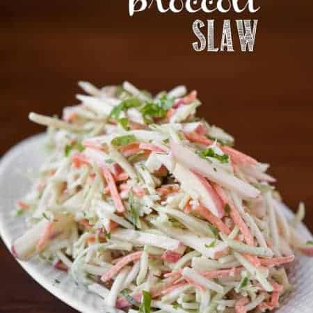 broccoli and apple coleslaw on plate