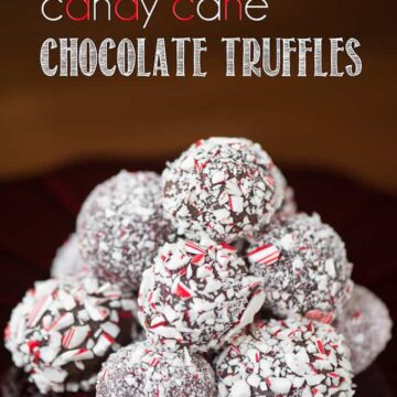a pile of easy candy cane chocolate truffles