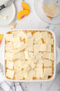 thin slices of butter on crumb topping