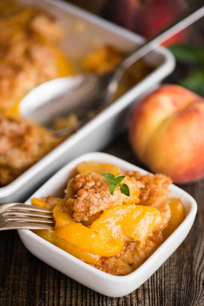 dish of peach cobbler