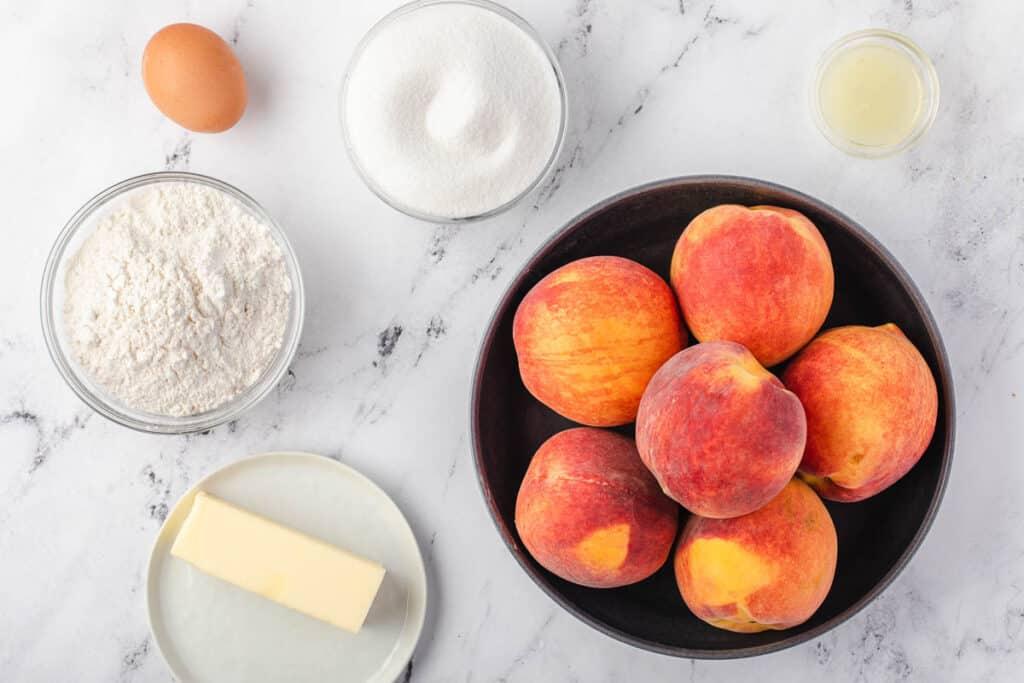 ingredients to make fresh Peach Cobbler