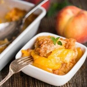 serving of homemade Peach Cobbler