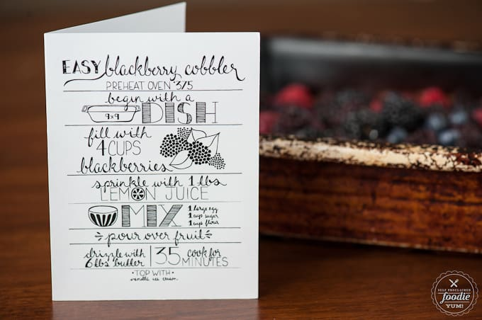 a card with a recipe for how to make berry cobbler