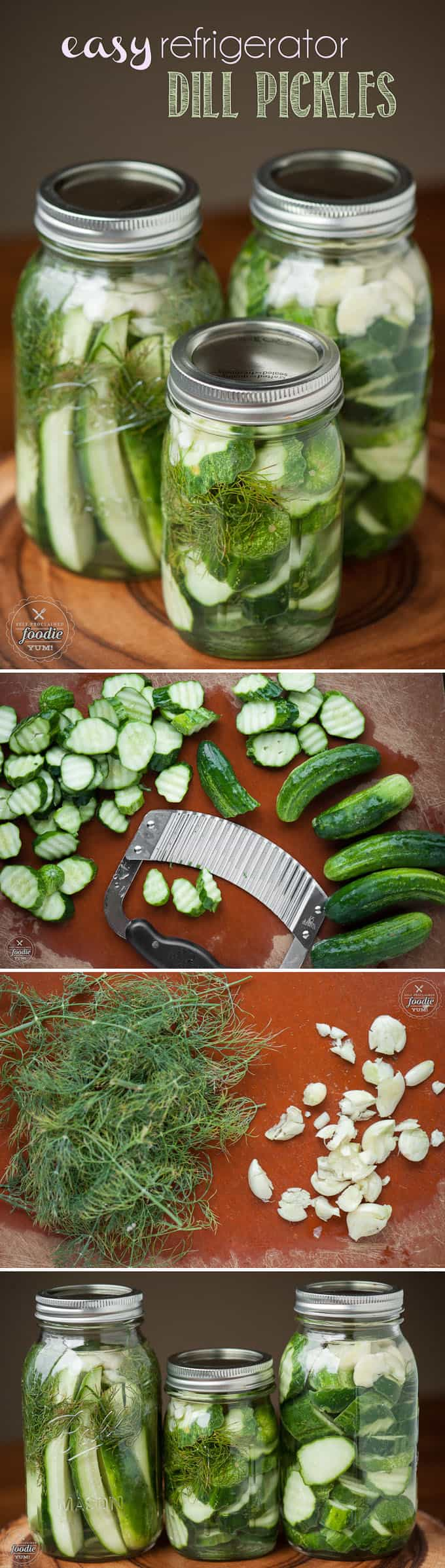 Easy Refrigerator Dill Pickles take only a few minutes to make. Once you make your own homemade dill pickles, you'll never buy store bought again. #pickles #refrigerator #homemade #dill #picklerecipe #quickpickles #easypickles