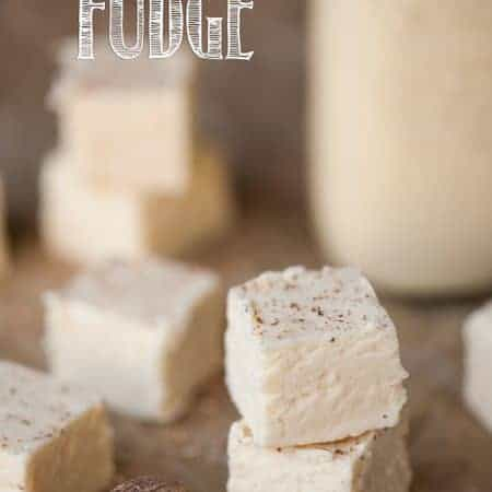 A piece of eggnog fudge on a table