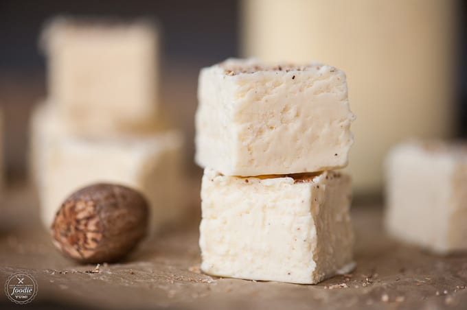two pieces of eggnog fudge