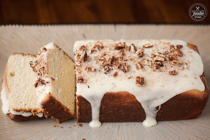 Use that leftover eggnog to make the perfect holiday treat - a rich and tasty Eggnog Poundcake complete with an eggnog glaze and crushed candied pecans.