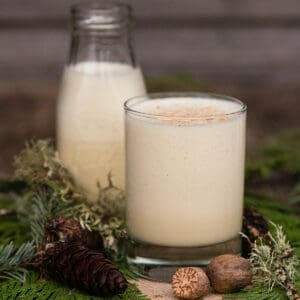 homemade eggnog in glass with greenery and nutmeg as decoration
