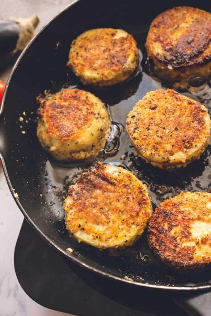 frying breaded eggplant