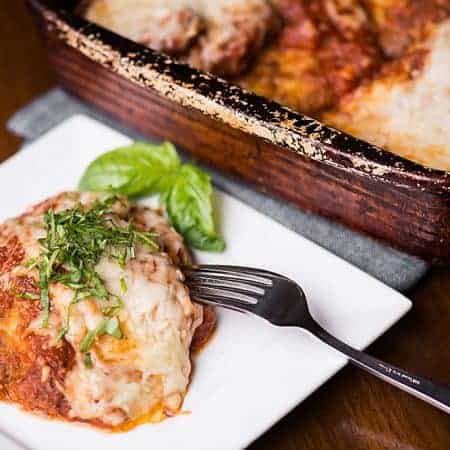 Homemade Eggplant Parmesan is one of my favorite vegetarian comfort food dinners. Just slice, fry, and bake to perfection!
