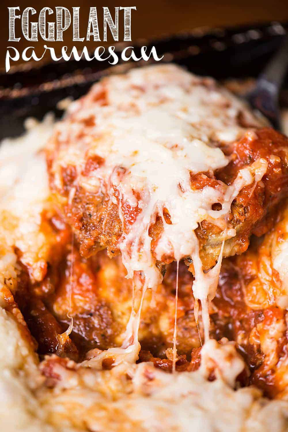 Homemade baked Eggplant Parmesan recipe with lots of cheese.