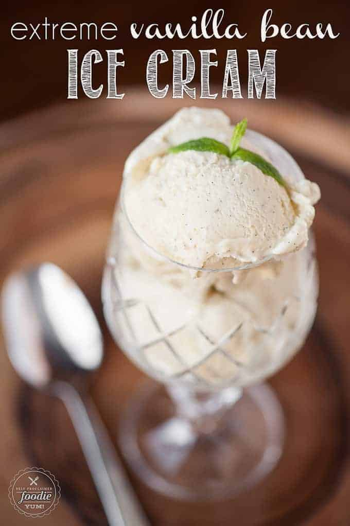 homemade ice vanilla bean ice cream in glass with mint on top