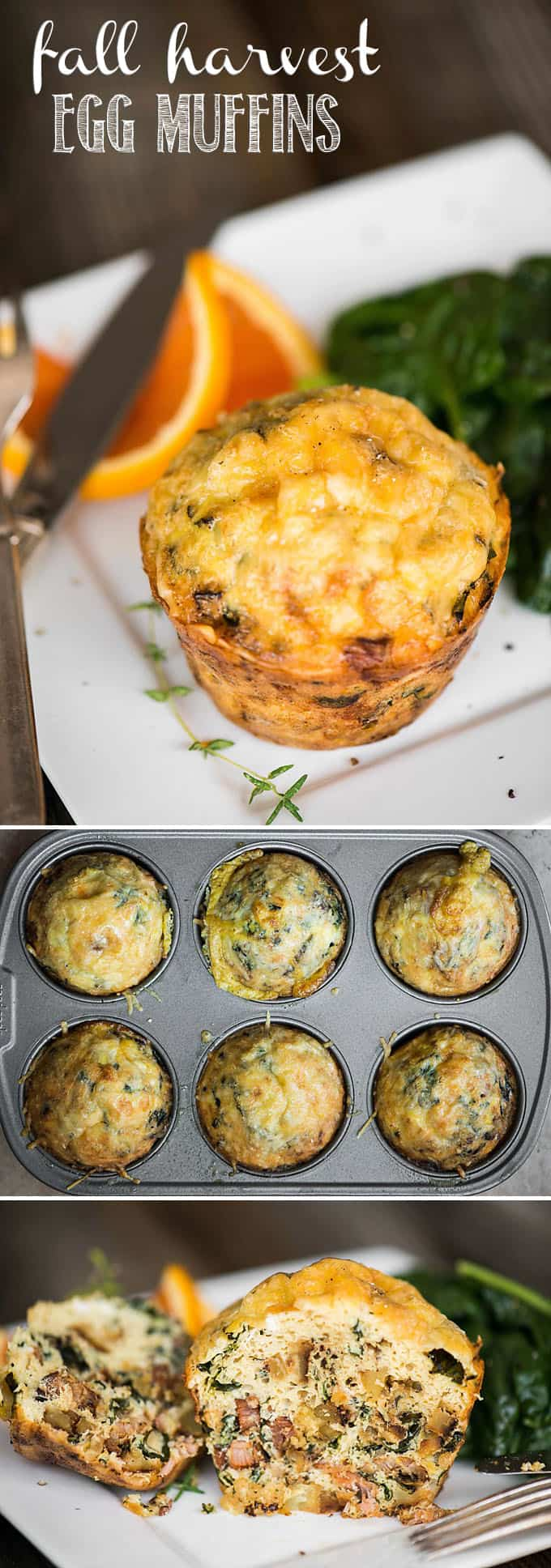 Fall Harvest Egg Muffins, filled with sweet potatoes, greens, and bacon, make for an easy make ahead healthy breakfast option.