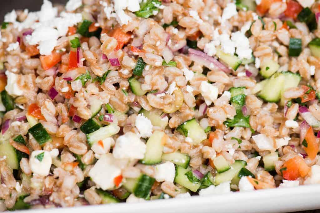 close up of cucumber feta Mediterranean Farro Salad