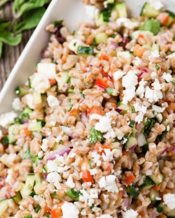 Mediterranean Farro Salad recipe with cucumber and feta cheese