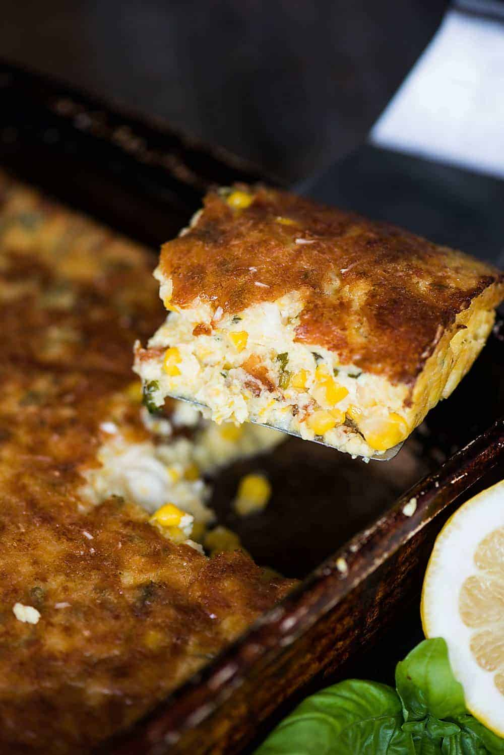 Feta Corn Casserole, made with canned corn and a hint of lemon and basil, takes only minutes to prepare, creating an easy side dish everyone loves.