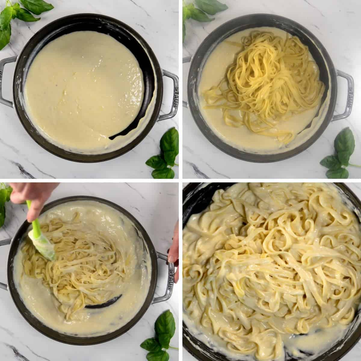 process photos of how to add pasta to alfredo sauce