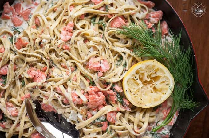 Fettuccine with Salmon Dill Cream Sauce made with smoked salmon, fresh dill, lemon and heavy cream is an insanely delicious and easy to make pasta dinner.