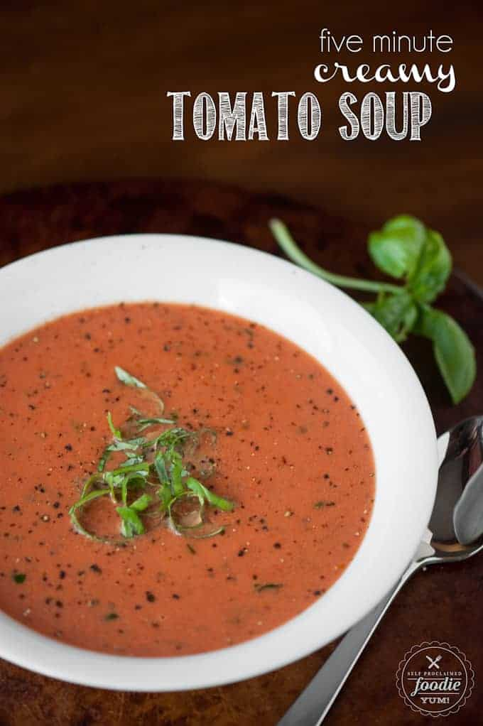 Five Minute Cream of Tomato Soup - Self Proclaimed Foodie Cream Of Tomato Soup With Garnish