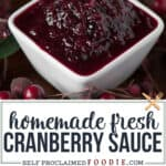 homemade fresh cranberry sauce