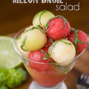 melon balls in martini glass with basil