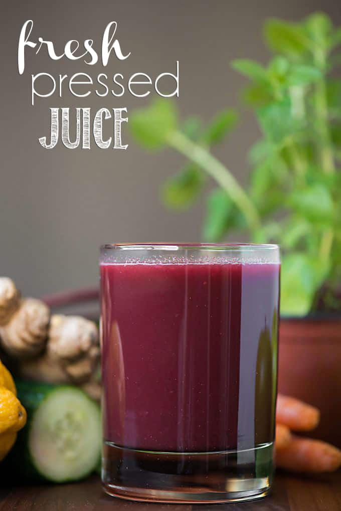 a glass of fresh pressed juice