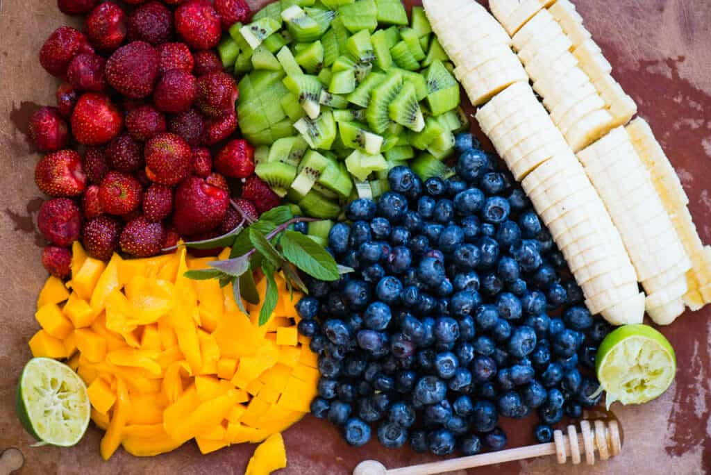 chopped mango, blueberries, kiwi, banana, strawberries