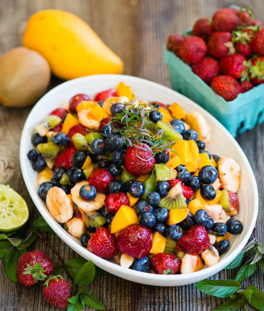 how to make Fruit Salad Recipe with Honey Lime Dressing