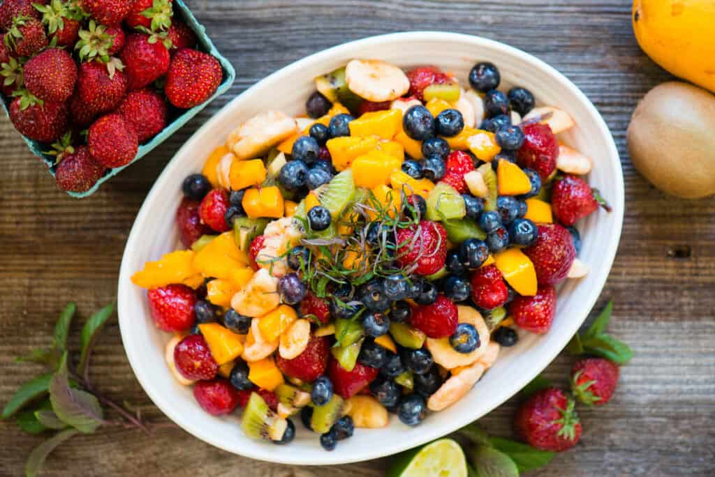 white oval bowl with chopped fruit