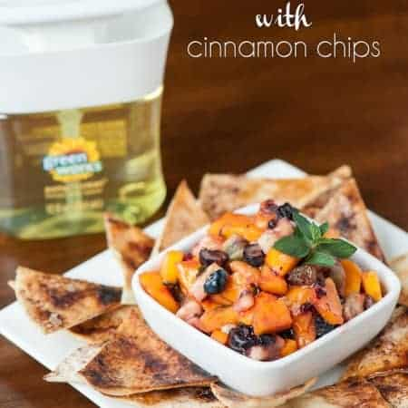 This perfectly sweet Fruit Salsa with homemade Cinnamon Chips will be loved by all and is a fantastic treat that can be served as an appetizer or dessert.