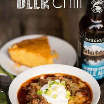 Game Day Beer Chili made with fresh or canned tomatoes in the slow cooker or pressure cooker is the perfect cold weather tailgating meal!