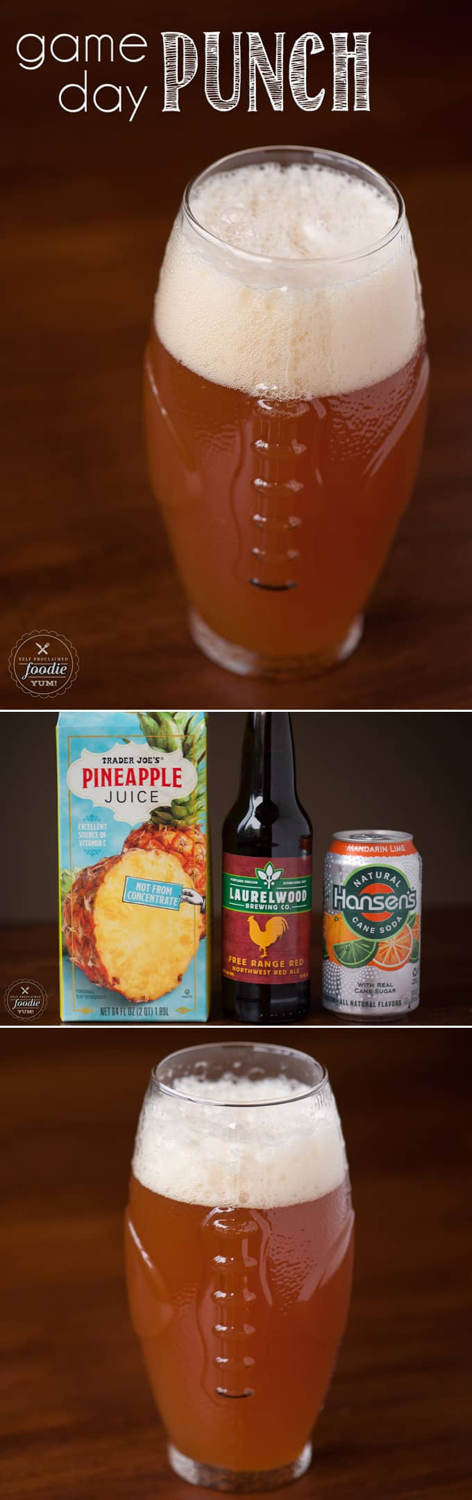 Game Day Punch is an easy to make concoction of an amber ale, pineapple juice, and a citrus-y soda that makes for the perfect game day or tailgating drink.