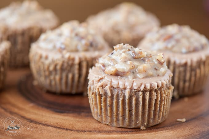 A close up of German Chocolate Cake cheesecake with nut topping