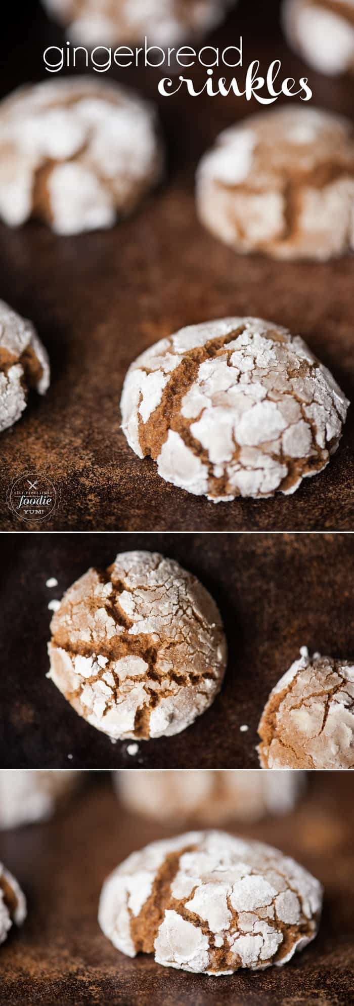 Gingerbread Crinkles are a soft and chewy cookie full of molasses and holiday spice. They are the perfect Christmas treat!