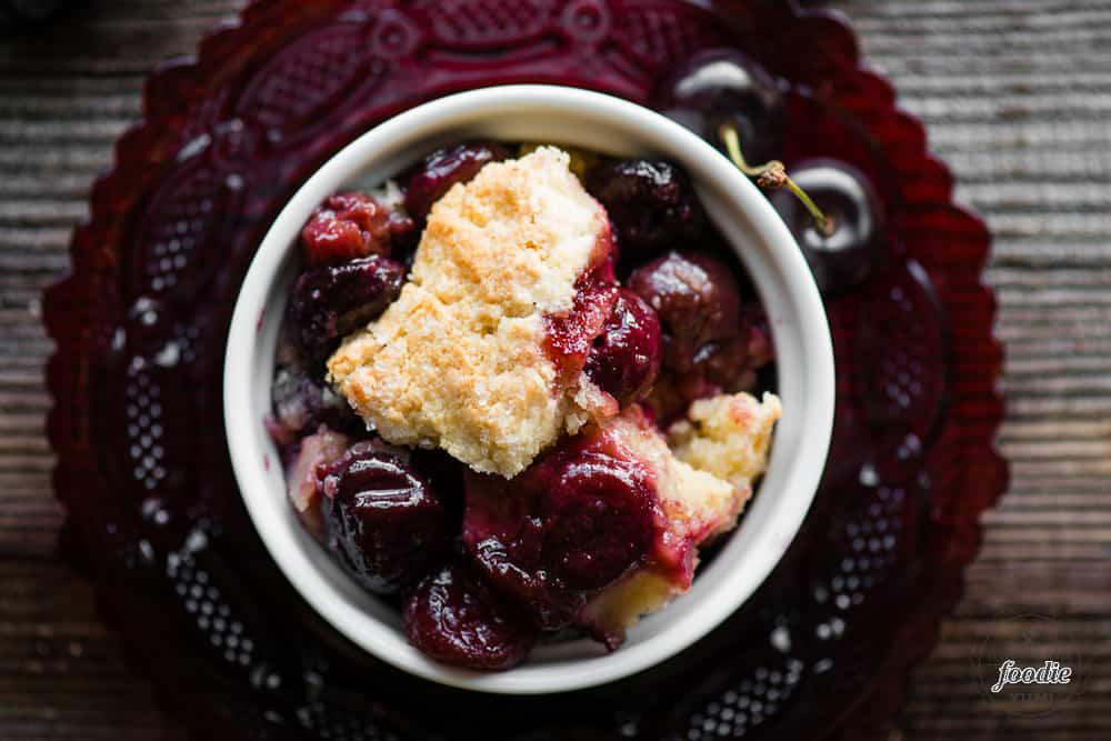 Top of individual serving of gluten free cherry cobbler