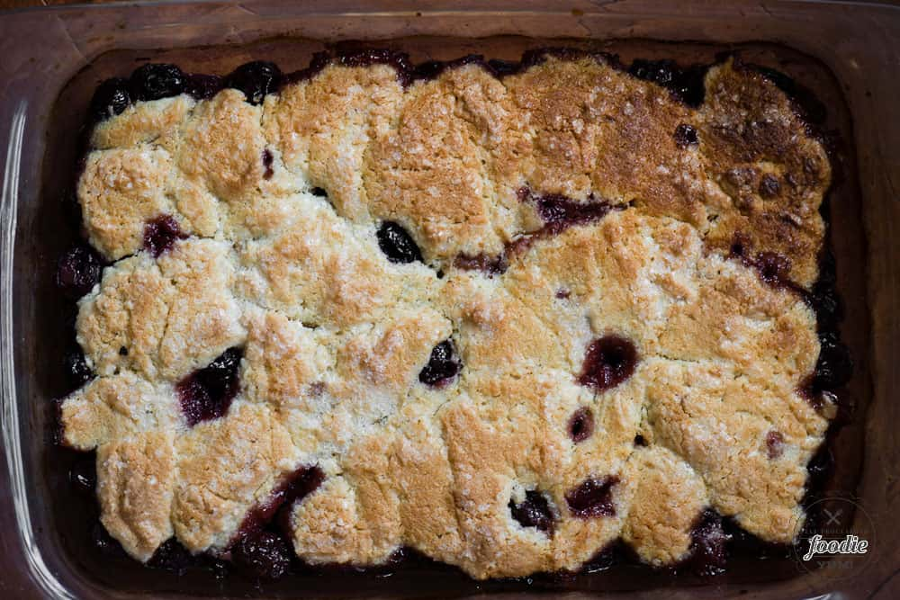 9x13 pan of gluten free cherry cobbler