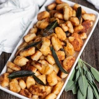 homemade fried gnocchi with crispy sage