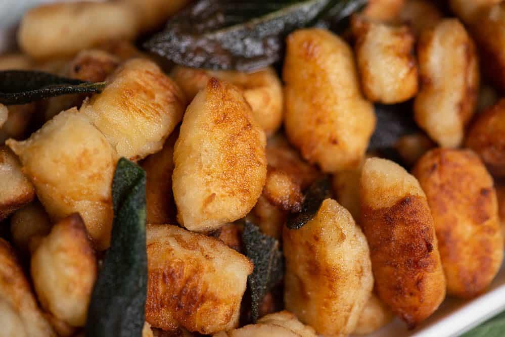 close up view of fried gnocchi