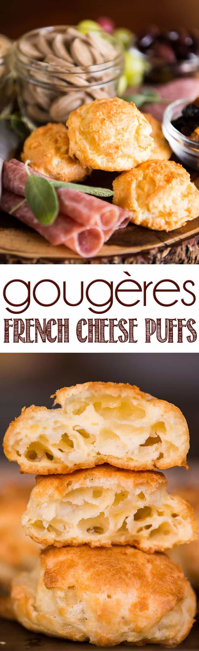 Gougères are French cheese puffs that are light and airy with a crisp outside. Made from scratch, they are great as an appetizer or served with a meal.
