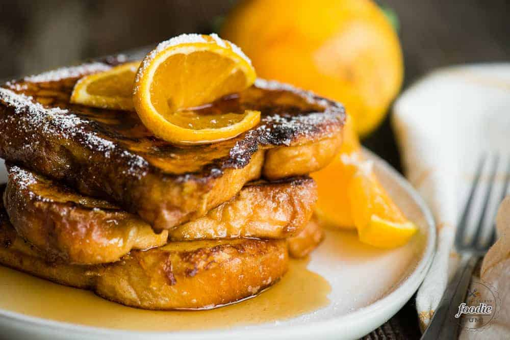 stack of orange flavored French Toast