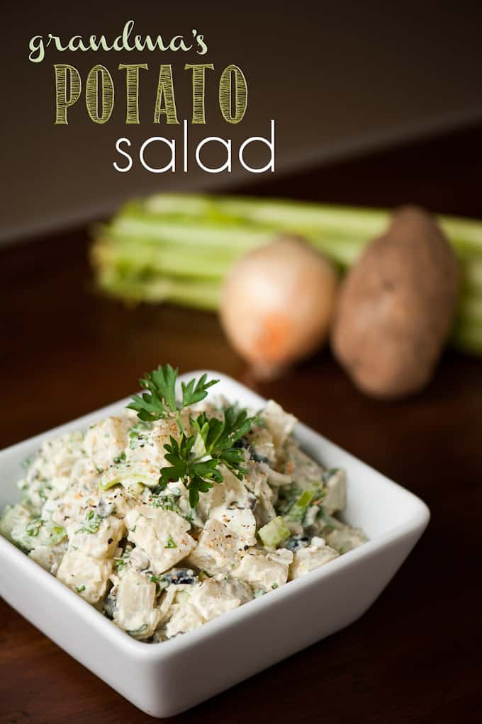 Grandma's Potato Salad is how I remember potato salad growing up. It has great texture combining creamy and crunchy and is the perfect summer BBQ side dish.