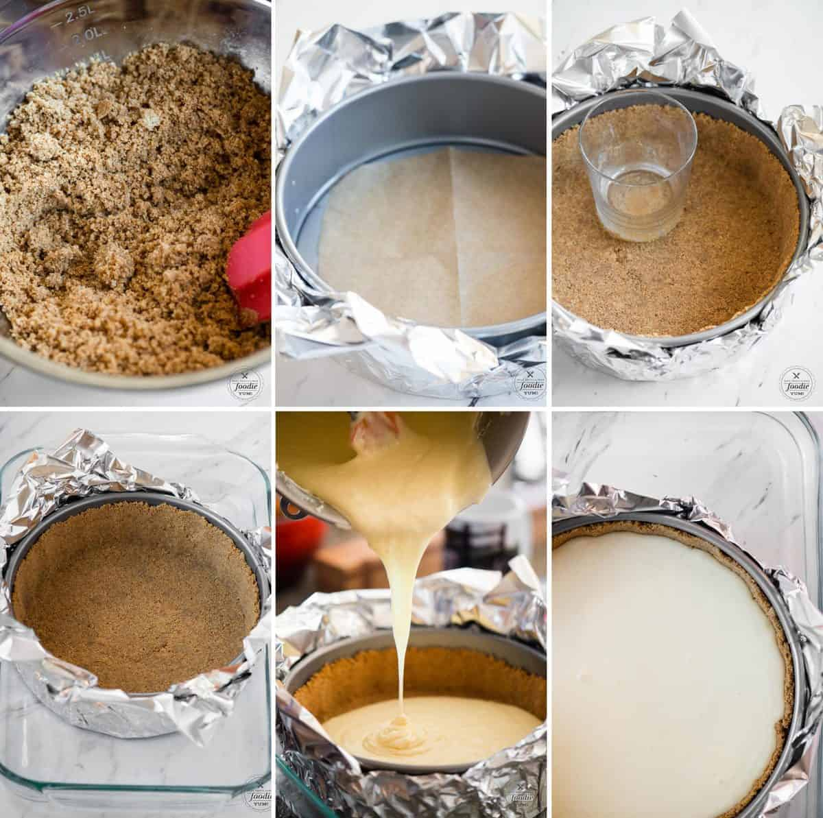 step by step process photos for how to make homemade cheesecake