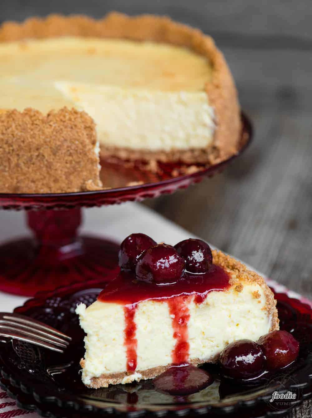 classic cheesecake recipe with easy cherry topping