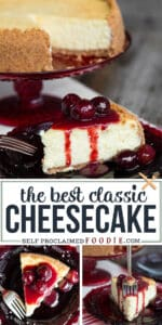 recipe for the best classic cheesecake with cherry topping