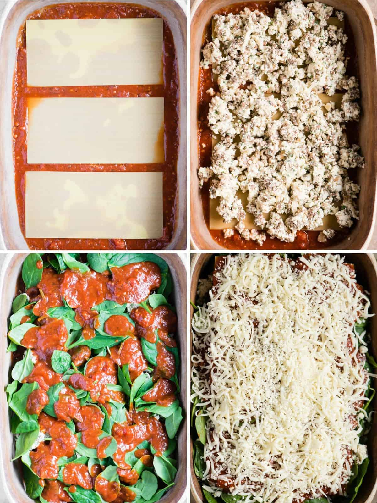 step by step process photos for making homemade lasagna with sausage